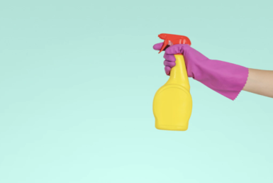 Spray bottle, cleaning, rubber glove